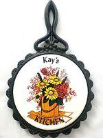 "Vintage Cast Iron Ceramic Tile Trivet Kitchen Decor Wall Hanging ""Kay's Kitchen"""