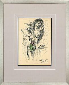SALVADOR DALI - old sketch Watercolor + INK - GREAT ART !!!
