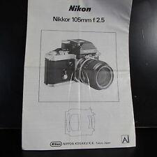 Nikon Nikkor 105mm f/2.5 Ai Lens Guide Owner Manual B00147