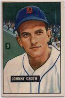 1951 Bowman #249 Johnny Groth VG-VGEX Detroit Tigers FREE SHIPPING