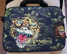 New Black Ed Hardy Laptop Case Bag Handles Embroidered Logo