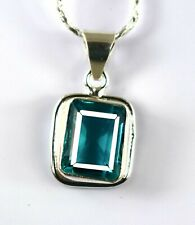 925 Sterling Silver 27.55 Ct Emerald Cut Sky Blue Topaz Pendant Free Chain Z4992
