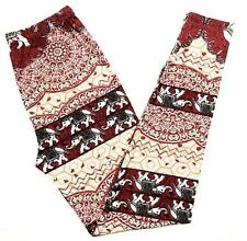 Buttery Soft Henna Indian Elephant Safari Leggings One Size S M L Animal Zoo OS