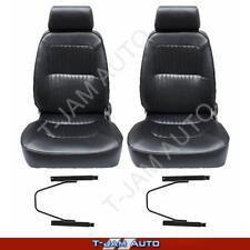 Deluxe Classic Pair 2 x Black W/ Seat Rails Leather Car Bucket Seats - Camaro