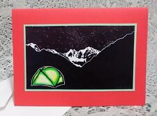 New listing 5 Handmade Tent Christmas Cards Linocut Block Print Camping Nature Holiday Red