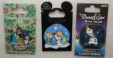 DISNEY FROZEN BABY ANNA ELSA OLAF  3 PIN SET WORLD OF COLOR & HOLIDAY ARE LE