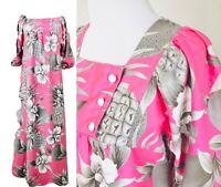 Vtg HILO HATTIE Hawaiiana Pineapple Tropical Boho Hippie Peasant Pink Dress, S/M