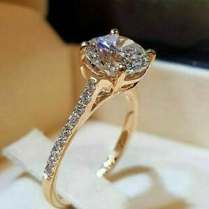 2.30Ct Round Cut VVS1/D Diamond Solitaire Engagement Ring 14K Yellow Gold Over