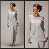 Grey Mother of the Bride Pant Suits Long Sleeves Wedding Party Outfits