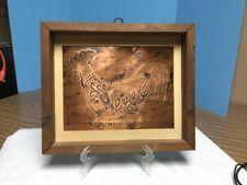 Vintage Hand Made Framed Punched Tin Rooster Pie Safe Panel Framed