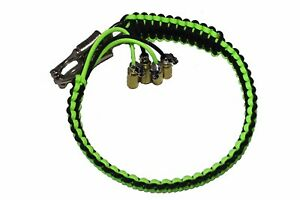 """biker whip motorcycle get back 24""""  skull .45 paracord neon green and Black"""