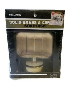 Vintage Melard Solid Brass & Ceramic Soap Dish Almond Ceramic 1989 NOS Sealed