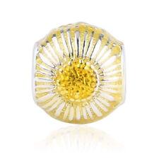 Yellow Sunflower Shape Charm 100% 925 Sterling Silver pandora European