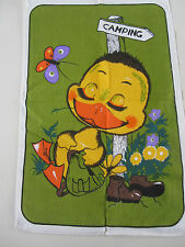 Vintage new old stock cotton tea towel camping duckling olive green 60s retro