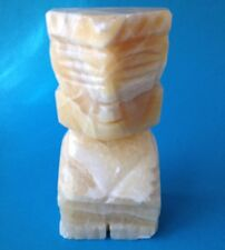 Vtg Heavy Marble Onyx Hand Carved Bookend Mexico Figurine Aztec Maya