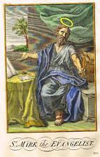 "Burkitt's Expository ""ST. MARK the EVANGELIST"" - Hand-Colored Engraving -1752"