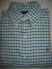 NWT Mens Ralph Lauren White/Green/Blue Plaid Oxford Long Sleeve Shirt S