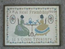 Antique Framed Needlework Sampler 1929 Real Friendship Is A Great Treasure
