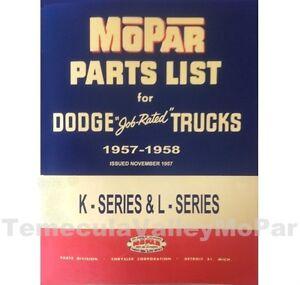Illustrated MoPar Parts Manual for 1957-1958 Dodge Trucks