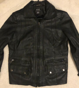 ANA genuine lambskin black leathter jacket
