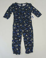 NWT Old Navy Girls Size 12 18 24 Months 2t 3t 4t 5t Blue Flower Soft Pant Romper