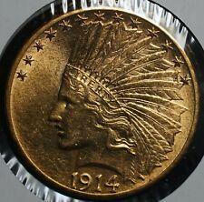 1914 D Gold Ten Dollars Indian G$10 Eagle Coin