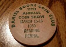 Daniel Boone Coin Club 1980 Reading Penna. Wooden Nickel