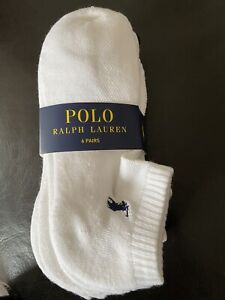Polo Ralph Lauren Socks, White Ankle Socks, 6 Pairs Per Pack, RRP £34.99
