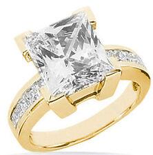 3 carat center Princess cut Diamond Solitaire Engagement 14K Yellow gold Ring