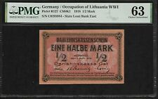 Germany Occupation of  Lithuania WWI 1/2 Mark  1918 PMG 63 UNC  P# R127