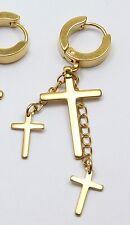 Men's or Women's Gold three Cross Drop Dangle Huggie Single Earring