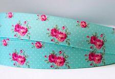 1M X 22mm Grosgrain Ribbon Craft DIY Cake Decoration Hair Bow - Roses In Aqua