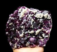 5.3LB WOW!!! Rare Beauty Purple Cube Fluorite & Calcite Mineral Specimen/China