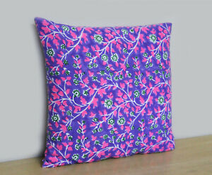 Indian Floral Design Pillow Cover 100% Block Printed Cotton Cushion Cover Throw