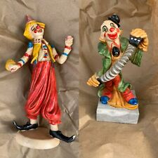 Vintage 2 Depose Italy Clowns 1 playing Accordian on Marble Base, 1 Drinking 🤡