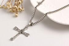 Paper Chain Necklace & Cubic Zirconia Cross Crucifix Pendant.Silver Coloured