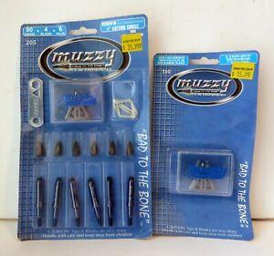 "Muzzy 4 Blade 90gr Broadhead 1"" Cut 6/pk, & Muzzy Broadhead Replacement Blades"