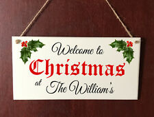 Personalised Unique Christmas Family Sign Welcome Plaque Gift Holly Xmas