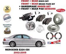 FOR MERCEDES E220 CDi 2002-2009 FRONT BRAKE DISC SET + PADS + SHOES + SENSOR KIT