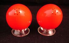Salt & Pepper Plastic Egg Oval Shaped Red Plastic Shakers Retro Vintage