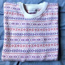 Vintage Ladies Fair Isle 100% Cotton Knitted In Scotland Winter, Sweater, Jumper