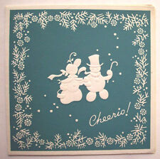 Cheerio Embossed dressed snowman couple  Christmas vintage greeting card *K