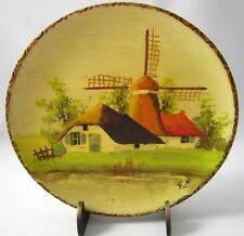 """Dutch Wood Windmill Design Wall Plaque Signed Numbered Vintage Holland 5 1/2"""""""