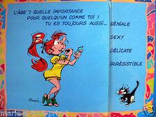 RARE Grande carte postale d'anniversaire humour de GASTON LAGAFFE + rabat et env