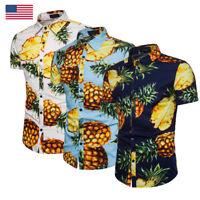 USA Mens Pineapple Print Shirts Tops Casual Short Sleeve Hawaiian Beach Shirt