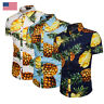 USA Mens Pineapple Print Shirts Tops Casual Short Sleeve Hawaiian Beach Shirt