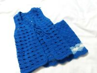 Vintage 70s Girls Blue Hand Crochet Vest and Skirt Size Small