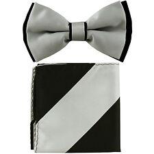 New Men's Two Tones Pre-tied Bow Tie & Hankie Set Silver / Black formal