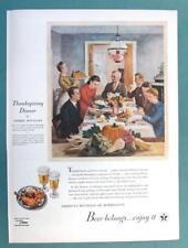 US Brewer's Fondation 1945 Ad American Scene A Rouellan Art THANKSGIVING DINNER