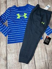 Under Armour 24 Months Blue Stripe Long Sleeve Gray Joggers Outfit Set NEW